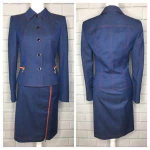 Escada Blue & Red Military Style Skirt Suit (34)